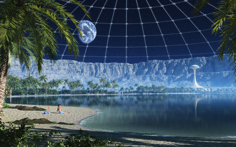 на луне, My beach in a moon crater, пляж