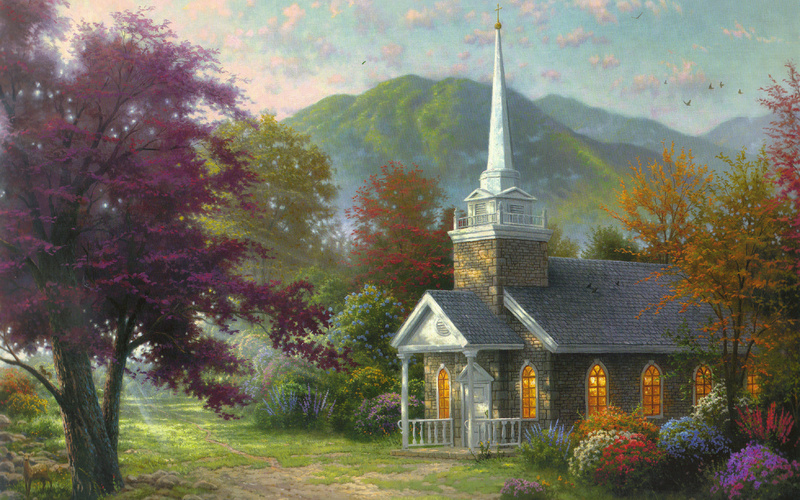 сhapel, Streams of living water, flowers, thomas kinkade, nature, paintig