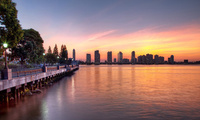 new york, нью-йорк, Summer sky, sunset, hudson river, usa, nyc, закат
