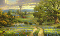 lake, painting, house, томас кинкейд, Country living, flowers, thomas kinka ...