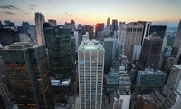 midtown manhattan, нью-йорк, nyc, new york city, Sunset over, закат, usa