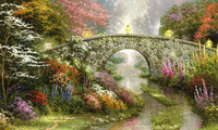 beautiful, Stillwater bridge, thomas kinkade, lamps, painting, bridge, flow ...