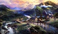 paintig, lake, thomas kinkade, bridge, Emeraldvalley, houses, mountains, do ...