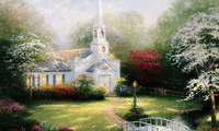 Hometown chapel, paintig, lamp, bridge, thomas kinkade, chapel, томас кинке ...