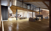 modern loft, интерьер, room, hall, living room, fireplace, table, stylish d ...
