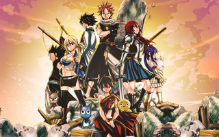 gray fullbuster, erza scarlet, natsu dragneel, happy (fairy tail, Fairy tail, lucy heartfilia