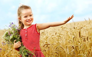 flowers, bouquet, children, childhood, Cute little girl, smiling, happiness, wheat field, child