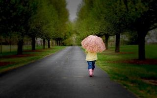 children, trees, child, childhood, lonely, nature, umbrella, road, , Little girl, sadness