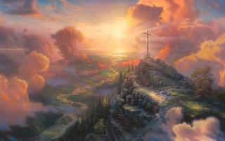 thomas kinkade, sun light, light, The cross, painting, cross