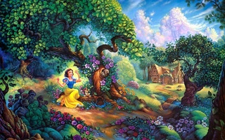 walt disney, Snow whites magical forest, painting, tom dubois, cartoon, snow whites, forest