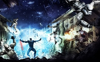 clones, jedi, star destroyer, the force unleashed, game wallpapers, Star wars