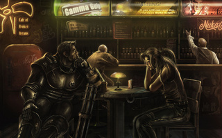 cafe of broken dreams, мужчина, арт, миниган, женщина, Fallout, бар
