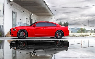 charger, Dodge, додж, небо, puddle, srt8, reflection, miami, срт8, red, чарджер