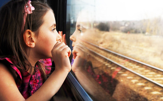 cute, lonely, Pretty little girl, reflection, child, children, train window, sadness
