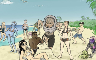 песок, sand, команда, crew on vacation, море, sea, Mass effect, экипаж
