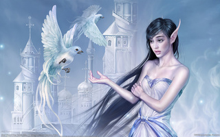 birds, elf, girl, Cg wallpapers, китай, tang yuehui, castle, cloud wizard, fantasy, china