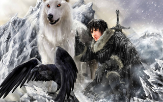 john snow, ghost, direwolf, game of thrones, The song of ice and fire