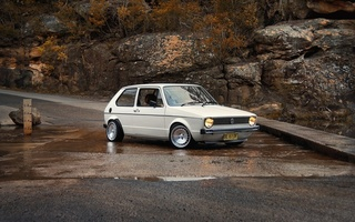 mk1, classic, volkswagen, cars, дорога, golf, rabbit, white, vw, Auto, природа