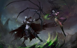 starcraft, sylvanas windrunner, девушки, sarah kerrigan, world of warcraft, Арт