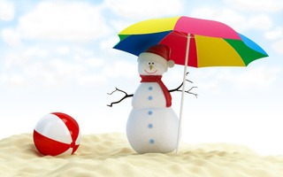 веселый рождество, Merry christmas, new year, snowman, beach ball, umbrella