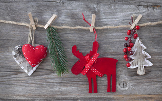 decorations, hearts, christmas tree, New year, reindeer, toys, cherry, merry christmas