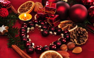 heart, new year, candle, ornaments, decoration, Christmas, рождество, balls