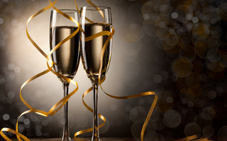 Champagne, happy new year, christmas, merry christmas, шампанского, ribbon, holiday