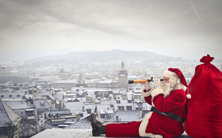 gifts, merry christmas, new year, Santa claus is coming, city, town, sack of toys