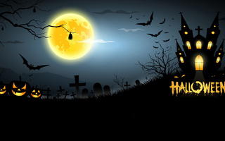 bats, creepy, pumpkins, horror, full moon, graveyard, midnight, scary, Halloween, house
