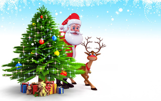 рождество, snow, christmas tree, santa claus, gifts, 3d, Christmas, new year, reindeer