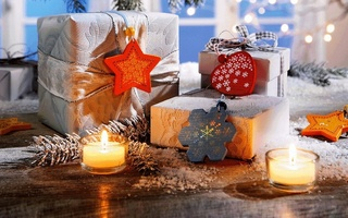 snow, ribbon, candles, heart, Новый год, snowflake, рождество, gifts, winter
