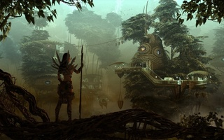 city, forest, охотница, Fantasy, girl, rendering, девушка, evening, hunter, лес