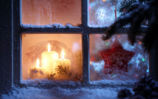 new year, candles, window, star, snowflake, christmas spirit, Merry christmas