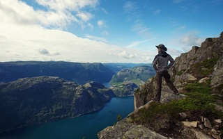 sea, panorama, fjord, lonely, clouds, sky, traveler, man, mountain, nature, hiker, Lonely, guy