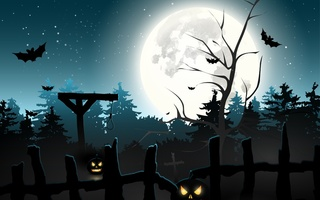 bats, midnight, horror, scary, forest, pumpkins, gallows, full moon, Halloween, graveyard, creepy