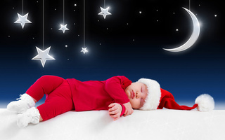 little santa claus, funny sleeping baby, merry christmas, kid, children, clothes, New year