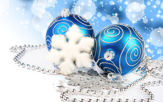 new year, necklace, lights, bokeh, blue balls, decoration, jewelry, diamonds, Merry christmas