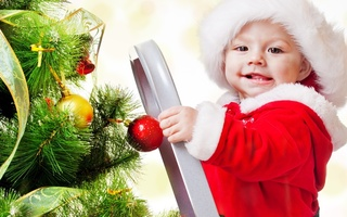 New year, merry christmas, adorable funny beautiful kid, children, christmas tree, ladder