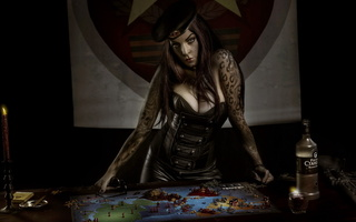 Original game of thrones, parody, table, board, woman, tattoo, risk