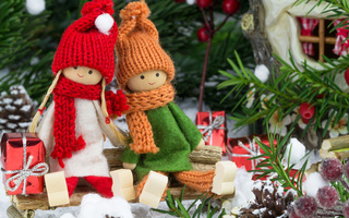 toys, new year, decoration, dolls, ornaments, cherry, Merry christmas, gifts, christmas tree