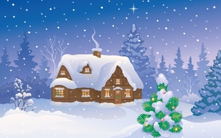 winter home, christmas tree, snow, Merry christmas, new year
