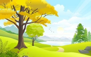 nature, clouds, road, landscape, sky, lake, sun, trees, grass field, Vector art, birds