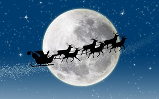 stars, новый год, snow, santa claus coming, New year, full moon, reindeer, merry christmas