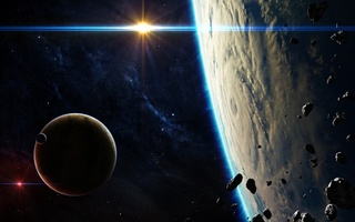 light, asteroids, sci fi, satellites, blue, Planets
