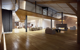 modern loft, интерьер, room, hall, living room, fireplace, table, stylish design, Interior
