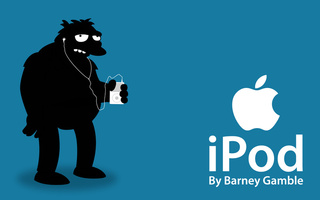 Apple, simpsos, barney, ipod